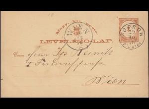 Ungarn Postkarte P 5 AI Ziffer 2 Kr. von SOPRON 29.10.1878 nach WIEN 30.10.78