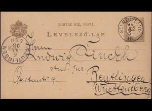 Ungarn Postkarte P 14 Ziffer 2 Kr von SELMECZBANYA 5.7.1895 nach REUTLINGEN 6.7.
