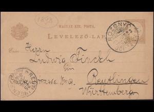 Ungarn Postkarte P 14 Ziffer 2 Kr von ROZSNYO 23.6.1893 nach REUTLINGEN 25.6.93