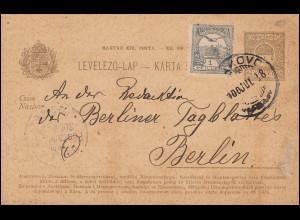 Ungarn Postkarte P 23 Stephanskrone 4 f mit Zusatzfr. DAKAVO 18.7.1900 n. Berlin