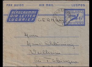 Südafrika Aerogramm SOUTH AFRICA 6 d Blau DWARSRIVER 21.7.56 n.Weilheim/Tübingen
