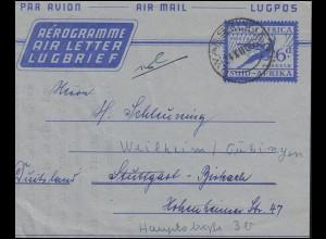 Südafrika Aerogramm SOUTH AFRICA 6 d Blau DWARSRIVER 24.12.1956 nach Stuttgart