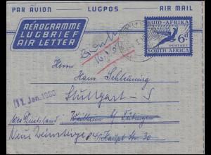 Südafrika Aerogramm SOUTH AFRICA 6 d Blau DWARSRIVER 4.1.1960 nach Weilheim
