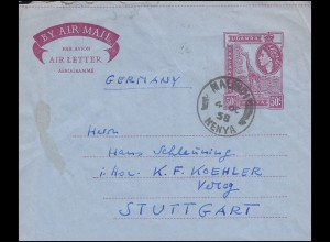 Kenia Aerogramm Giraffe 50 C. violett MALINDI / KENYA 4.10.1958 nach Stuttgart