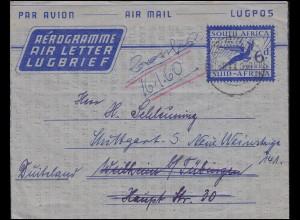 Südafrika Aerogramm SOUTH AFRICA 6 d Blau DWARSRIVER 8.9.59 n. Weilheim/Tübingen