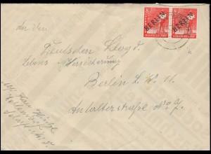 3 Schwarzaufdruck 8 Pf im Paar als MeF auf Orts-Brief BERLIN-ZEHLENDORF 1.12.48