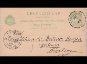Ungarn Postkarte P 26 Krone 5 F. grün von KOMAROM 27.7.1900 nach Berlin 27.7.