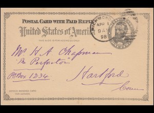 USA-Frageteil Message Card One Cents schwarz RICHMOND / VA. 1.4.1898 n.Hartford