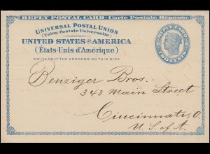 USA-Antwortkarte Replay Card Two Cents blau nach Cincinnati/Ohio 1898