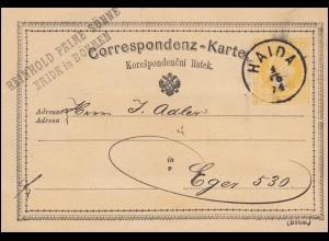 Österreich Postkarte P 18a Böhmen aus HAIDA 4.10.1874 nach Eger