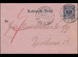 Rohrpost-Umschlag RU 3 Adler 30 Pf BERLIN P24 (R10) 6.12.97 nach BERLIN NW 6.12.