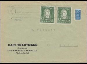 149 Martin Luther als MeF auf Brief mit Notopfer HAMBURG 13.8.52 nach Melle