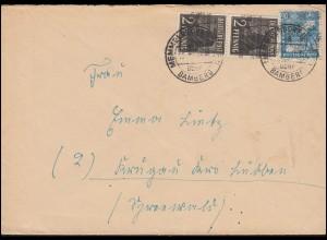 36I Band mit 43II Netz als MiF auf Brief MEMMELSDORF über BAMBERG 1948