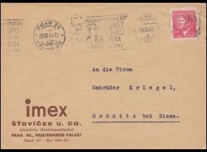 Böhmen und Mähren 98 Brief Werbe-O Reichsarbeitsdienst Kunstschau PRAG 20.7.44