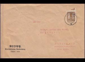 Dienstbrief D 145 als EF auf Drucksache NSDAP-Kreisleitung RENDSBURG 22.12.1938