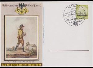 Lothringen P 3 Tag der Briefmarke Wiener Klapperpost, SSt KIEL U-Boot 12.1.41