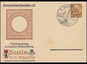 Privatpostkarte Philatelistentag 1940 SSt BERLIN Briefmarkenausstellung 30.3.40