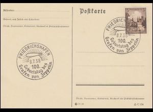 Sonderstempel FRIEDRICHSHAFEN 100.Geburtstag des Grafen von Zeppelin 8.7.1938