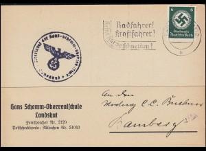 Dienstmarke D 136 EF auf Postkarte Hans-Schemm-Oberrealschule LANDSHUT 28.3.33