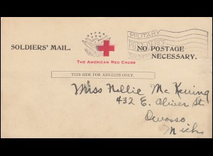 Soldatenpost USA-Postkarte Soldiers' Mail - The American Red Cross, gestempelt