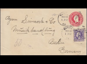 USA Ganzsache Umschlag 2 C. rot mit Zusatzfrankatur WARREN 9.3.1922 nach Berlin