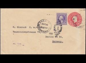 USA Ganzsache Umschlag 2 C. rot mit Zusatzfr. PHILADELPHIA GERMANTOWN 16.3.1922