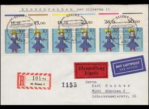 819 Peter Henlein als Viererblock auf Stempelkarte passender SSt NÜRNBERG 6.9.42