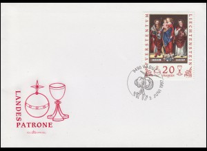 Liechtenstein 1151 Landespatrone 20 Franken auf Blanko-Schmuck-FDC VADUZ 1.6.97