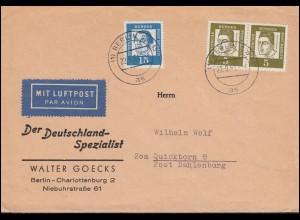 199 Albertus als Paar und 203 Luther MiF auf Brief BERLIN 22.9.61 nach Quickborn