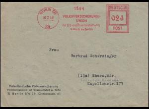 AFS Volksversicherungs-Union Erd- und Feuerbestattung BERLIN 16.7.1946