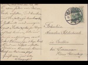 Schwarze Strichcodierung auf Ganzsache + Zusatzfrankatur BERSENBRÜCK 12.10.1978