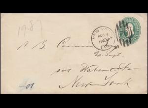 USA Umschlag Präsident 2 Cents grün mit DUP NEW YORK PO - 4.8.1889 als Ortsbrief