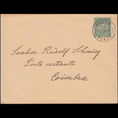Portugal Umschlag U 3 König Carlos I. 25 R grün PORTO 11.1.94 nach COIMBRA 11.1.
