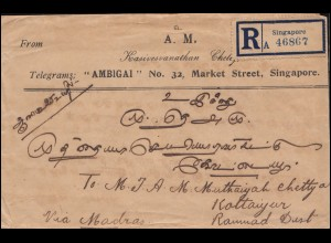 Straits Settlements R-Brief von Singapur 3.6.1922 rs. MiF nach Kottaiyur/Indien