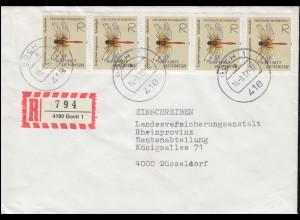 148+153 Stadtbilder 30 Pf + 1 DM als MiF Lp.-R-Brief BERLIN-TEMPELHOF 21.7.1959