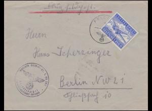 Feldpostmarke 1A Flugzeug EF Brief 22.11.42 Luftgaupostamt Breslau nach Berlin