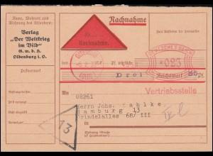 AFS Oldenburg 4558 Vertriebsstelle 5.2.30 auf Nachnahme-Drucksache nach Hamburg