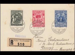116-118 Jugendfürsorge 1932, Satz auf R-Postkarte VADUZ 3.1.33 nach DANZIG 4.1.