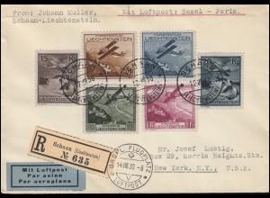 108-113 Flugzeuge über Landschaften 1930, Satz-R-FDC SCHAAN 12.8.30 in die USA