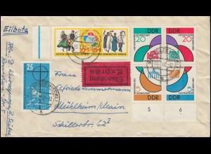 901-904 und 905-906 Weltfestspiele-Zusammendrucke Eil-Brief BAD SÜLZE 20.1.1962