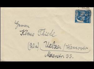 299 Wintersportmeisterschaften EF auf Brief FRANKFURT/ODER 17.3.1952 nach Uelzen