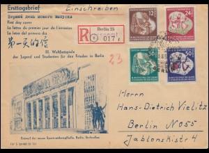 DDR 289-292 Weltfestspiele: Satz auf amtlichen Schmuck-FDC ESSt Berlin 3.8.1951