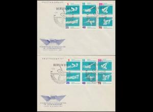 907-912 und 907-912ZD Schwimm-EM 1962 - Satz auf FDC und Zusammendruck auf FDC