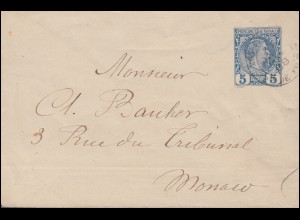 Monaco Umschlag U 1 Fürst Karl 5 C. blau als Ortsbrief MONACO 1888
