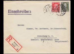 391 Kant und 394 Lessing auf R-Brief BREMEN 2.11.27 nach OLDENBURG 2.11.27