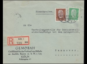 411+420 Hindenburg-Frankatur 5+50 Pf R-Brief KÖLN 31.12.32 nach HANNOVER 1.11.32