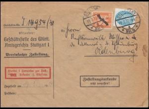 Dienst 111 Aufdruck und 127X Strohhut MiF Zustellungsurkunde STUTTGART 18.3.1932