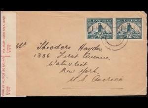Zensur Südafrika-USA 79-80 Goldmine Paar Brief ENTUMENI 15.1.1940 nach New York