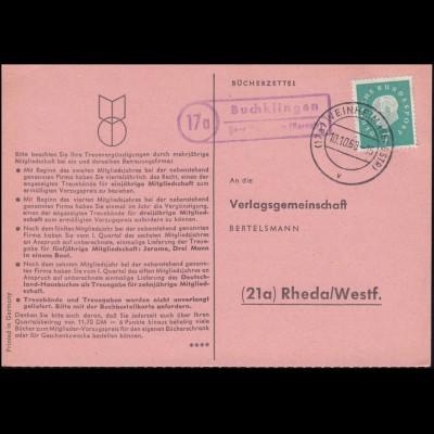 Landpost Buchklingen über WEINHEIM (BERGSTR) 10.10.60 Bücherzettel nach Rheda