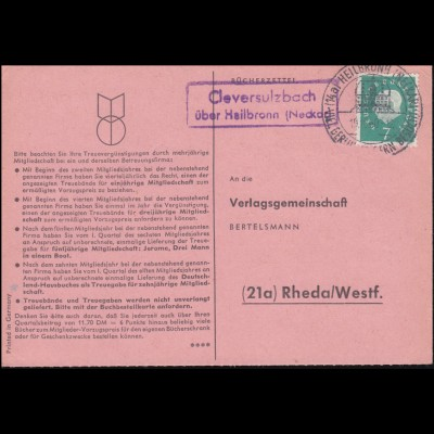 Landpost Cleversulzbach über Heilbronn auf Bücherzettel SSt HEILBRONN 19.10.1960